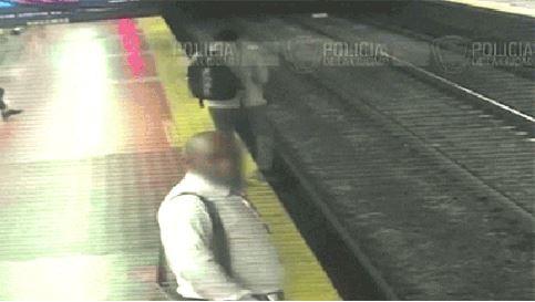 Man falls on train tracks