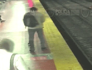 The man fell onto a train track