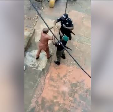 Police officers beating lawyer in Anambra