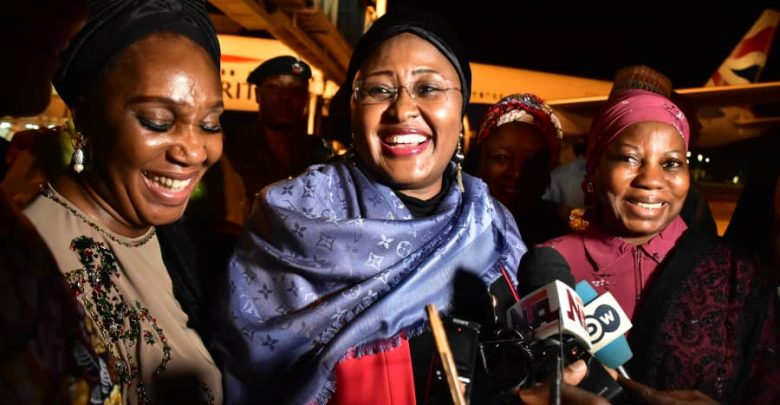 Aisha Buhari returns to Nigeria