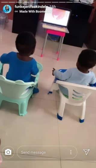 Funke Akindele's twin sons