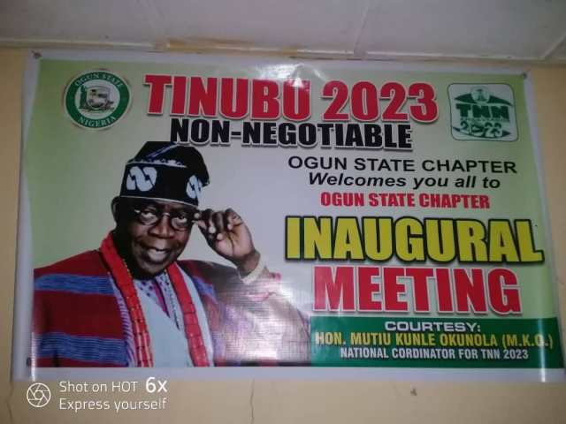 Bola Tinubu's campaign poster ahead of 2023 election