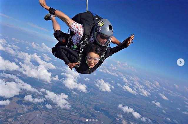 Nina enjoys skydiving experience