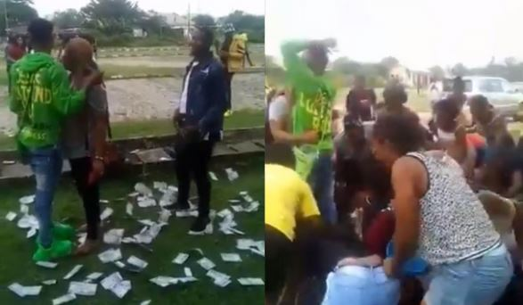 ABSU Students Rush To Pick Money Sprayed On A Girl By Her Boyfriend (Video)