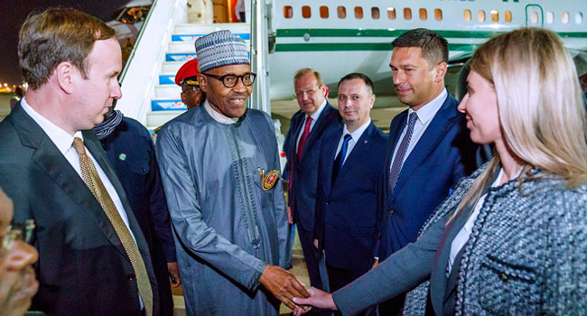 President Buhari, Three Governors, Others Arrive In Russia