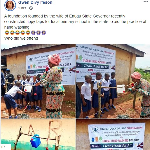 Enugu First Lady commissions tippy taps for primary school pupils