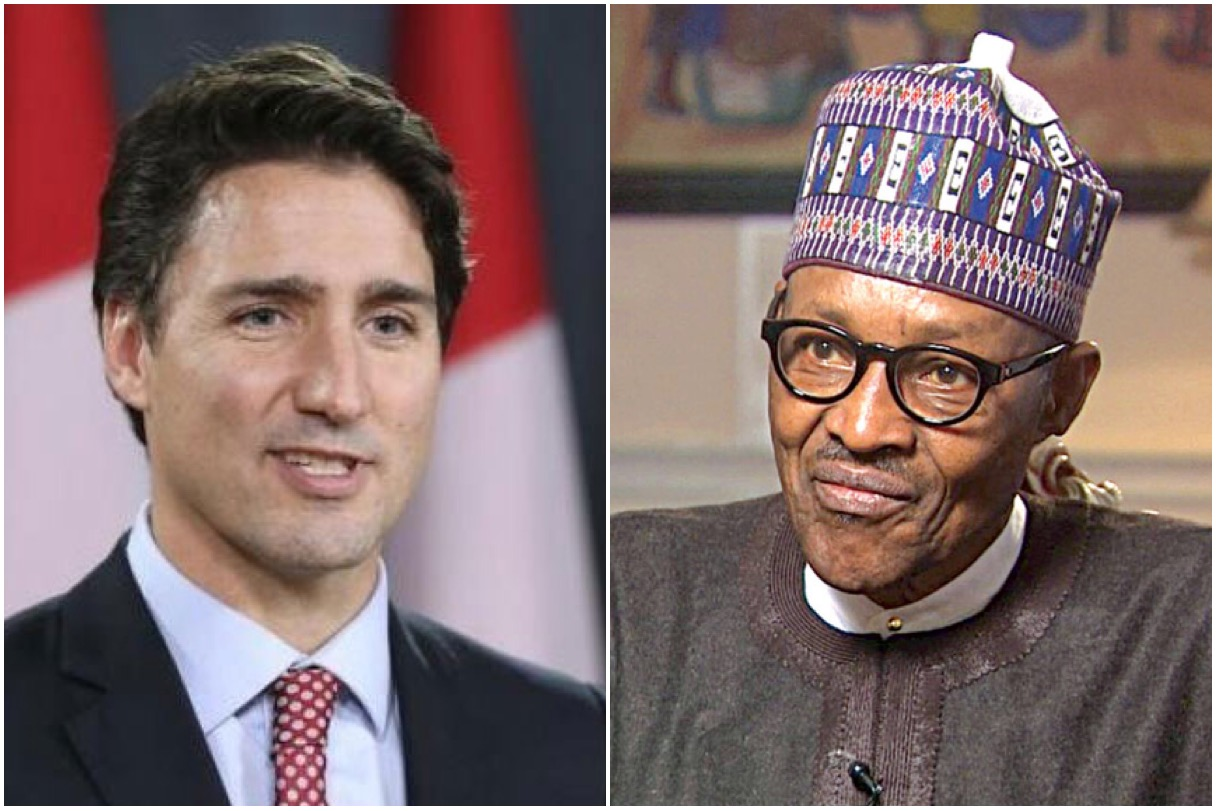 Canadian Prime Minister Justin Trudeau and President Muhammadu Buhari