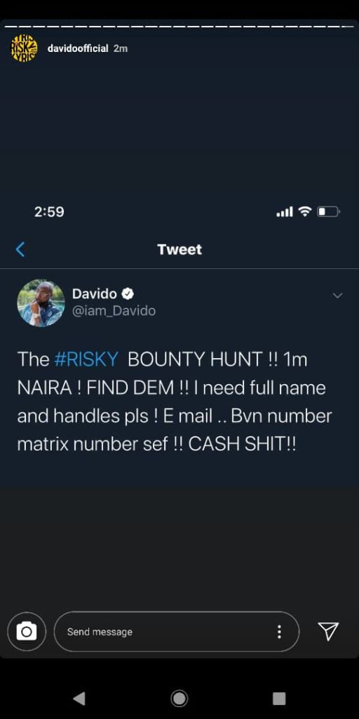 Davido threat