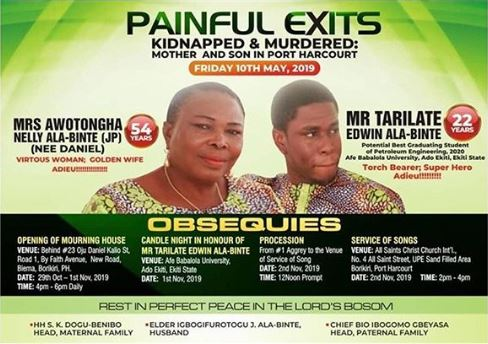 Mrs Awotongha Nelly Ala-Binte and Mr Tarilate Edwin Ala-Binte