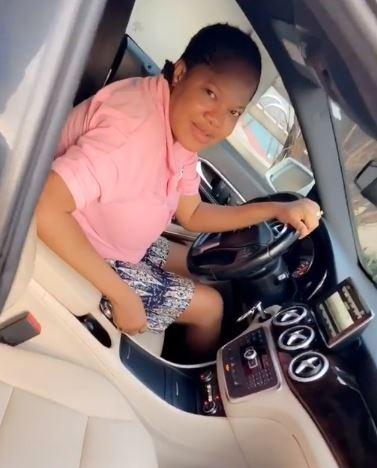 Toyin Abraham inside her new car