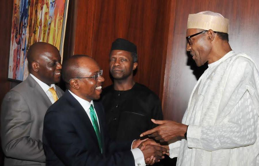File photo: President Buhari meets with CBN governor, Godwin Emefiele