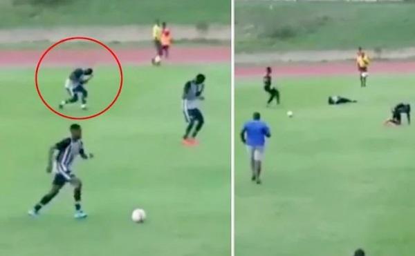 Thunder strikes two footballers