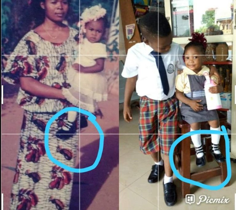 The little girl rocking her mother's sandals of 34 years