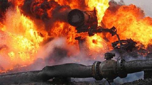 Agip pipeline on fire