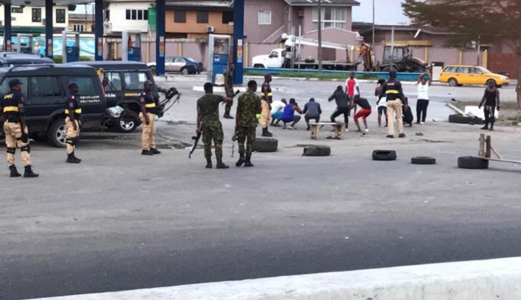Soldiers punish residents who came out to exercise