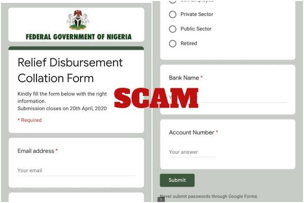 Purported FG form alert that is fake