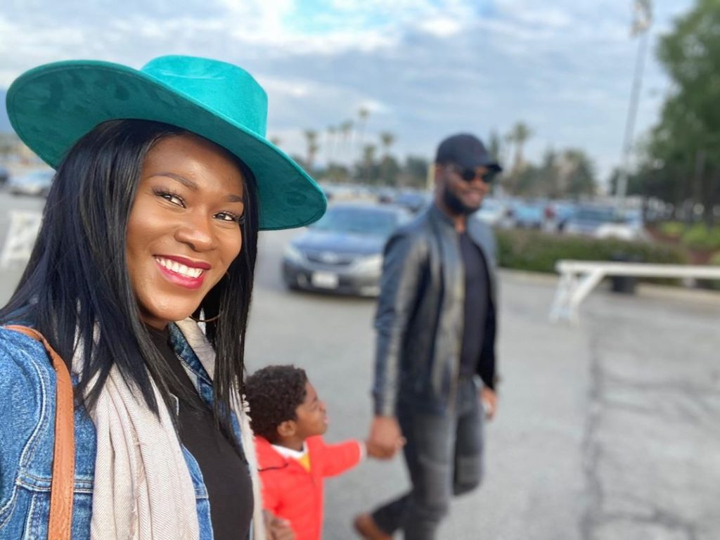 Stephanie Okereke and husband with their child