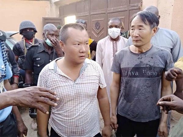 The two Cahinese men caught illegally mining in Zamfara