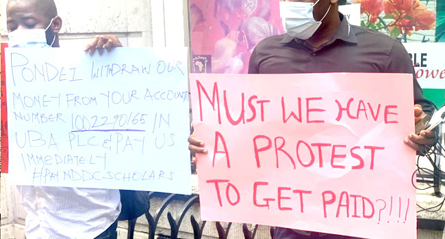 NDDC scholars protesting in London