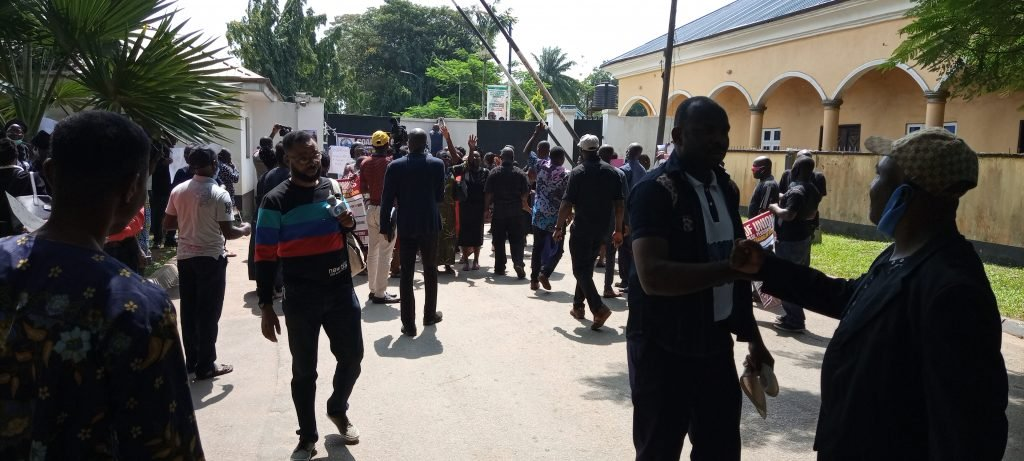 Protesters at the Edo state government house