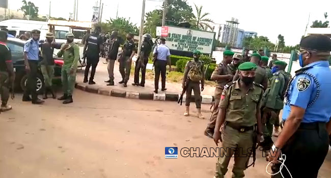 Police officers take over Edo Assembly complex