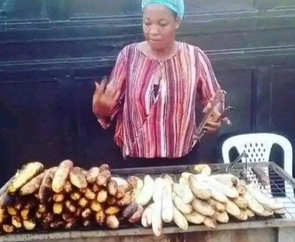 Lucy selling plantain and fish