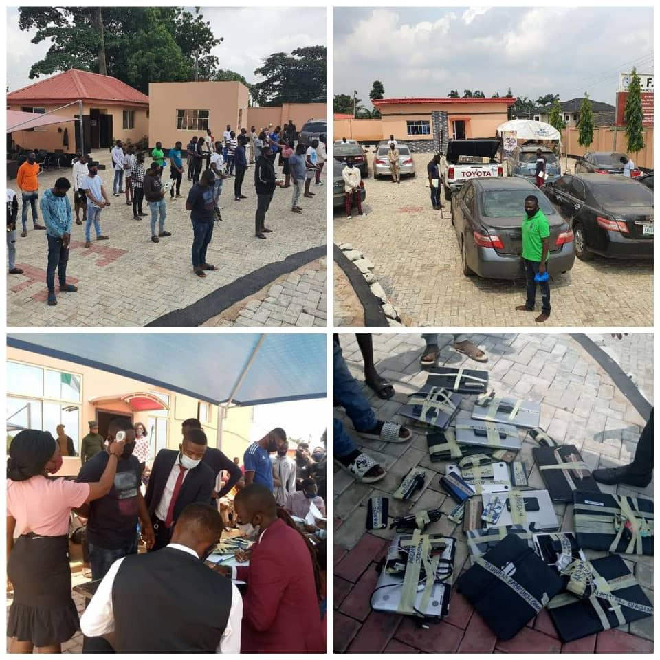 The suspected fraudsters arrested in Ibadan