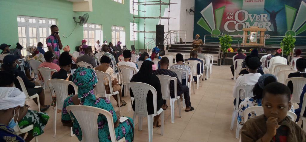 A church during service in Ogun state following lift on church ban