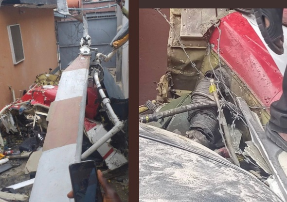 The helicopter crashed into a residential building in Lagos