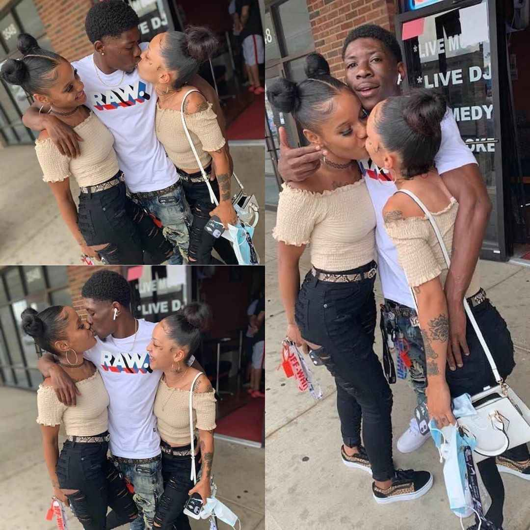 The man showed off his two girlfriends on social media