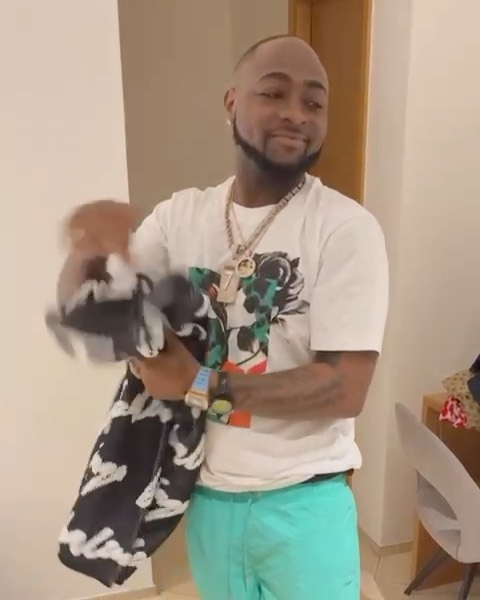 Davido shows off his luxury shirts
