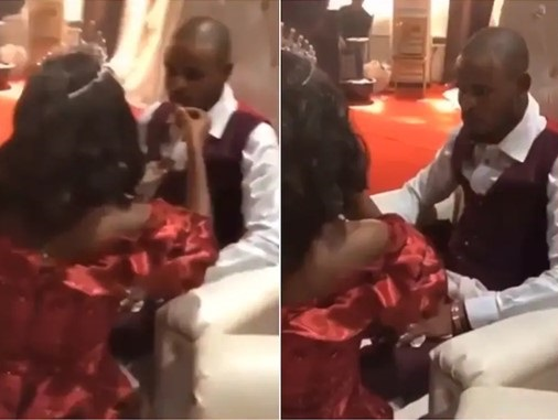 The groom got angry after the bride ate food she was supposed to give him.