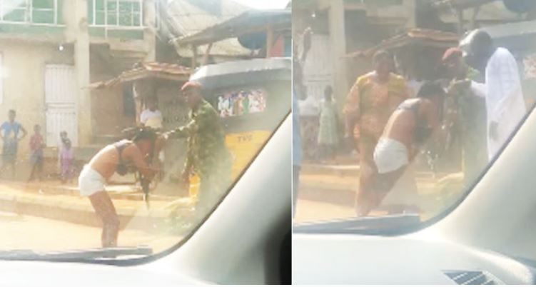Shocker! Nigerian Soldier Beats And Strips Lady N*ked For Indecent Dressing In Ogun (Photo)