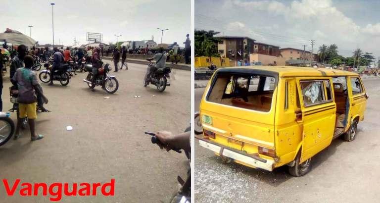 Scene of the clash between Okada and Danfo drivers