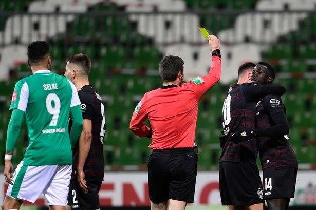 Stuggart player booked for scoring disrespectful goal