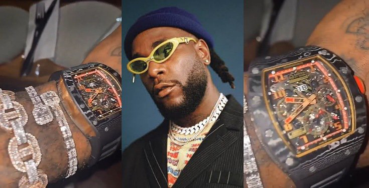 Burna Boy shows off expensive watch