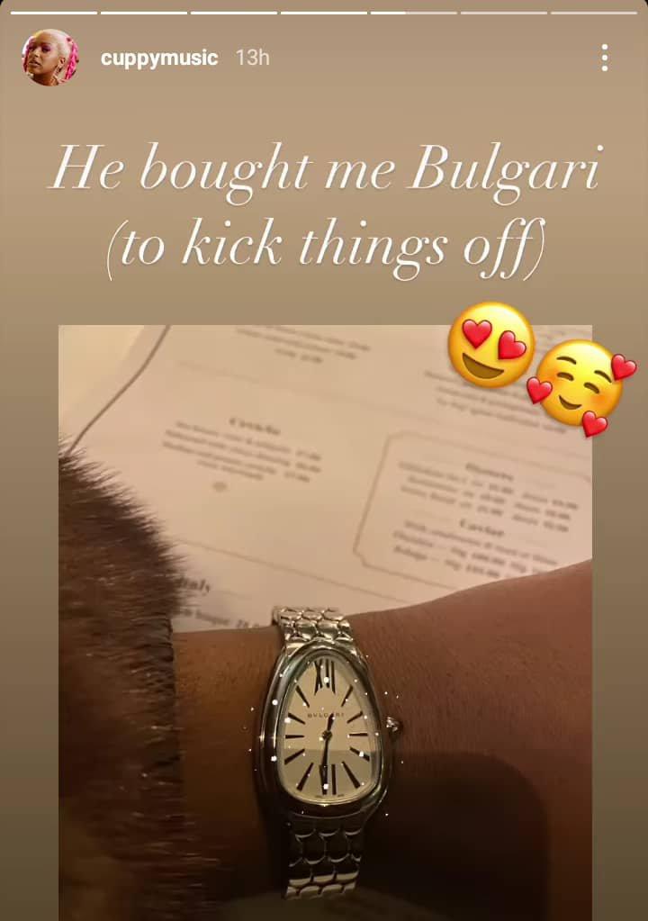 DJ Cuppy Flaunts Luxury Bulgari Wristwatch Her New Man Just Got Her (Photos)