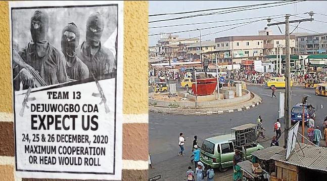 Landlords, Tenants Flee As Gunmen Write Lagos Community, Threaten Attack On Christmas Day