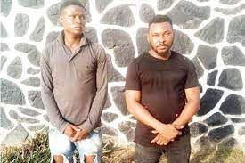 The suspects after they were arrested by the police