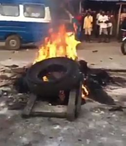 The thief burnt alive in Delta state for stealing