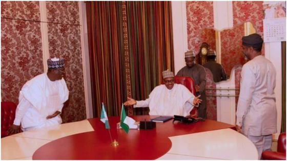 President Muhammadu Buhari in a meeting with Ahmed Lawan and Femi Gbajabiamila
