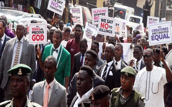 Pastor Adeboye leading his members on a protest