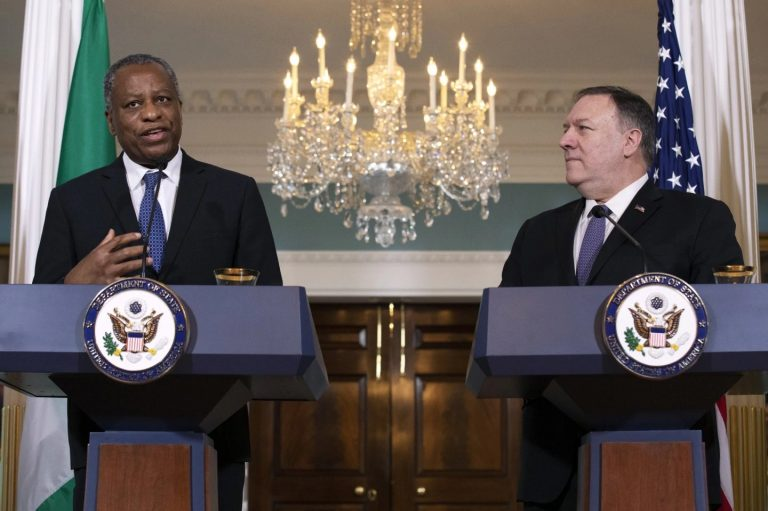 Minister of Foreign Affairs, Mr Geoffrey Onyeama (left), with the U.S. Secretary of State, Mr Mike Pompeo, at the press briefing on Tuesday. Photo: AP
