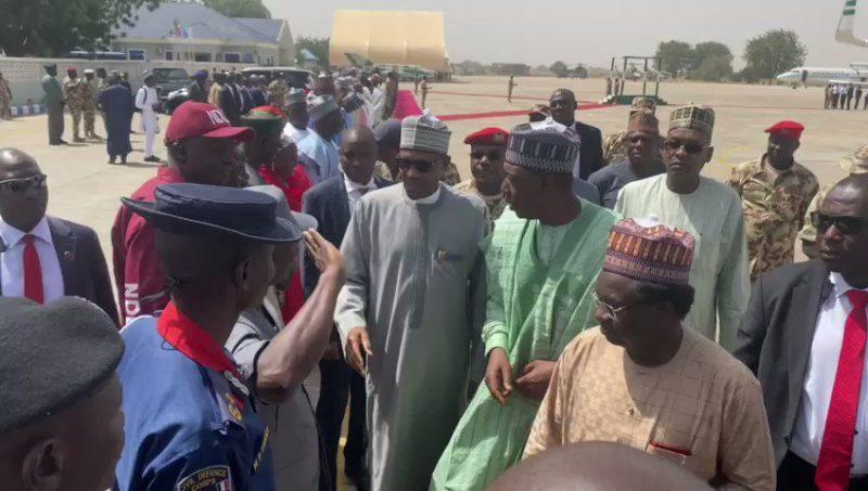 President Muhammadu Buhari in Maiduguri today