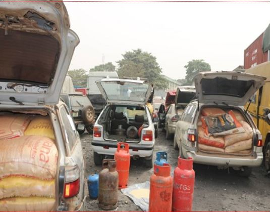 Some bags of rice hidden inside gas cylinder intercepted by Customs