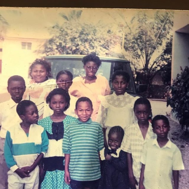 Olakunle Churchill shared this throwback photo of himself and family members
