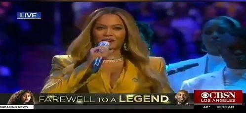 Beyonce performing at Kobe Bryant's memorial service