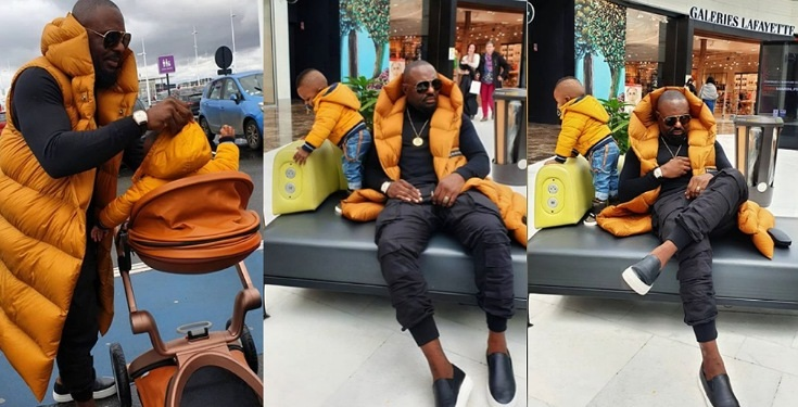 Jim Iyke having fun with his son in Paris