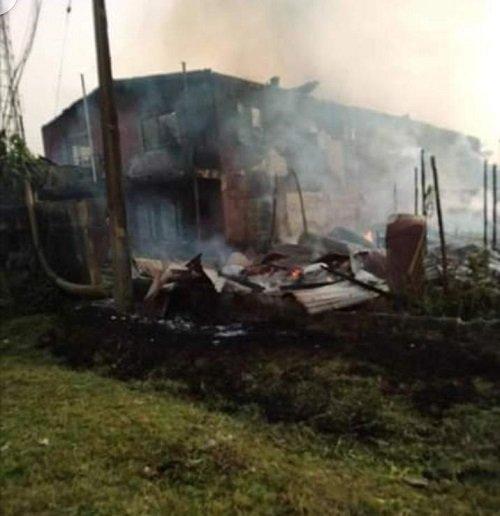 Warri building on fire