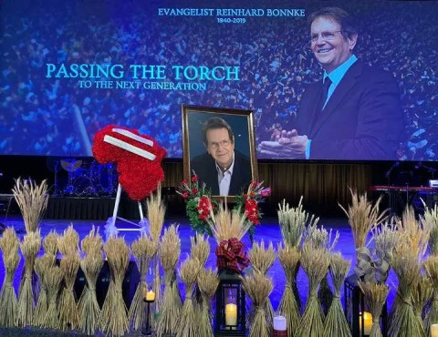 Funeral service for Reinhard Bonnke at Faith Assembly of God church in Orlando, Florida, on Jan. 4, 2019. Courtesy photo by Sarah M. Brown ORLANDO, Fla. (RNS) —